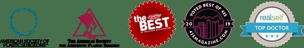 Logos: ASPS; ASAPS. Best Plastic Surgeon in Evening Magazine, Best of Western Washington, 425 Magazine, RealSelf